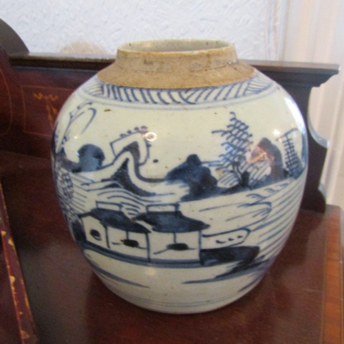 22 - Antique Oriental Ginger Jar with Glazed Landscape Painted Scenes Approximately 7 Inches High...