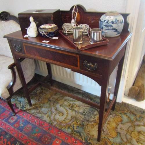 24 - Edwardian Mahogany Side Table with Marquetry Inlaid Decoration above Tapered Stretchered Supports an...