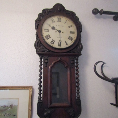28 - Antique Irish Mahogany Wall Clock with Carved Foliate Motif Decoration and Barley Twist Pillarettes ...