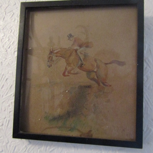 30 - Antique Watercolour Hunting Interest in Ebonised Frame Indistinctly Signed Approximately 9 Inches Hi...