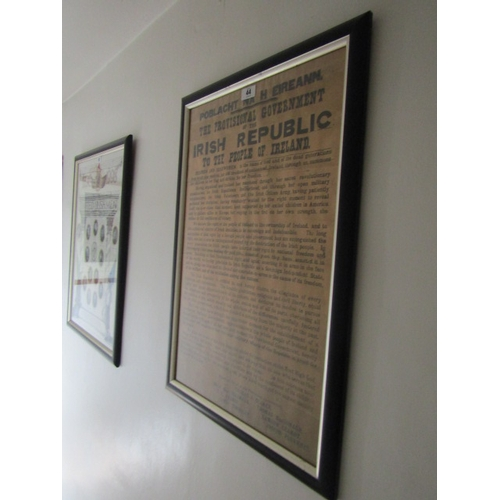 44 - Large Form Framed Irish Proclamation  of Free State Lithograph Measures Approximately 46 Inches High...