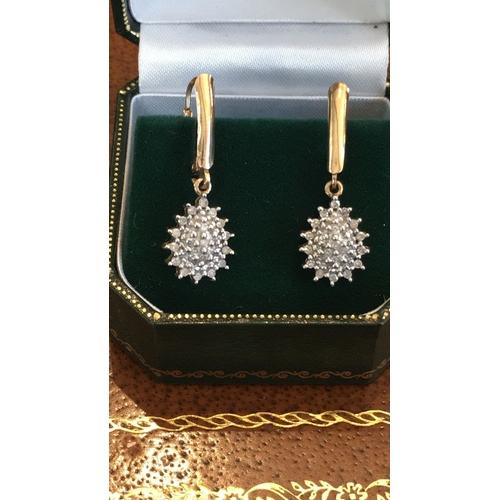 60 - Ladies 9 Carat Gold Diamond Cluster Drop Earrings...