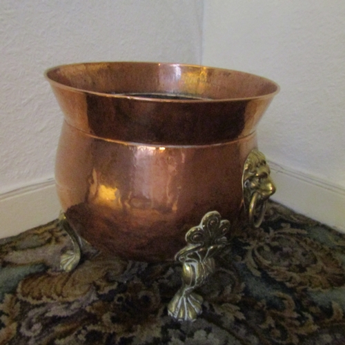 8 - William IV Copper Coal Companion with Brass Side Lion Head Motif Decorations above Shaped Form Suppo...