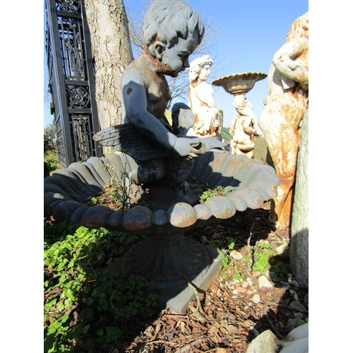 28 - Cast Iron Fountain Decrated with Cherub Holding Duck Approximately 4ft High x 36 Inches Wide...