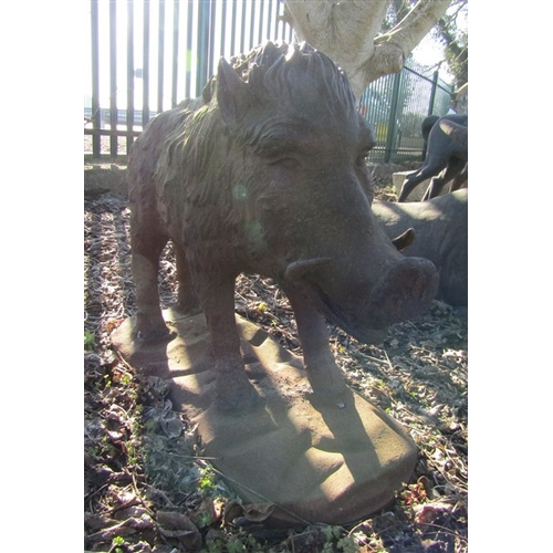 5 - Wild Boar Cast Iron Figure Approximately 3ft High x 4ft Long...