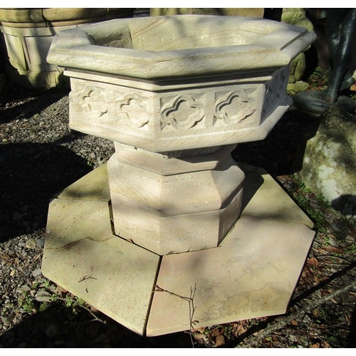 58 - Cut Stone Font of Hexagonal Form on Further Hexagonal Shaped Base Approximately 34 Inches Wide x Bas...