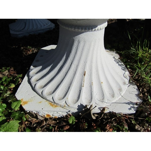 27 - Large Pair of White Painted Cast Iron Garden Urns of Good Size Each Approximately 3ft Wide x 28 Inch...