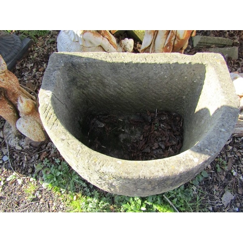 31 - Cut Stone Trough of Demi Lune Form Approximately 30 Inches Wide x 24 Inches High...