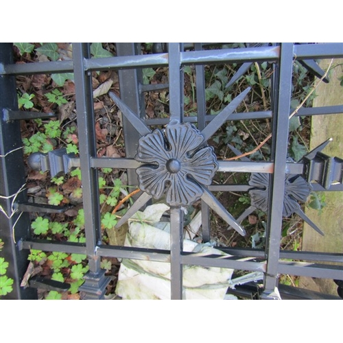 32 - Pair of Cast Metal Entance Gates with Finial Surmounts and Lock Extending to 11ft 5 Inches Total Wid...