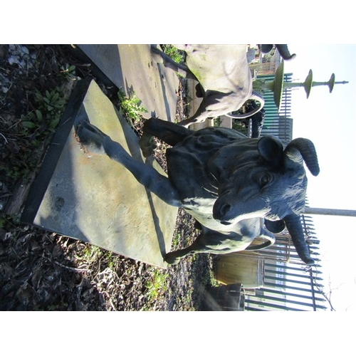 4 - Cast Iron Bull Sculpture Approximately 5ft Long x 4ft High...