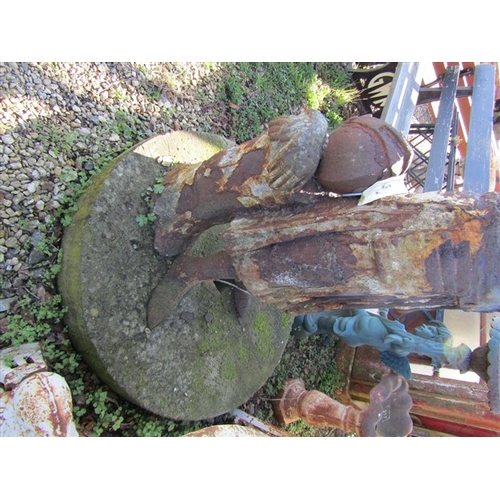54 - Cast Iron Garden Figure Joan of Ark Antique Resting on Circular Cut Stone Base Approximately 58 Inch...