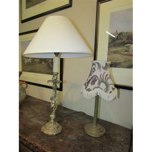 22 - Two Cast Brass Table Lamps and Shades Working Order...
