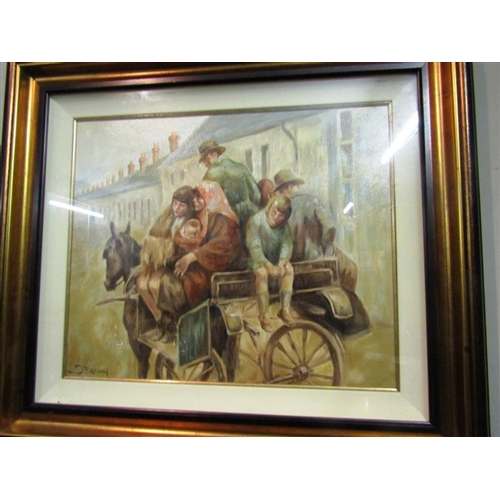 3 - Irish School Family with Horse and Cart Oil on Board Signed Approximately 18 Inches High x 24 Inches...