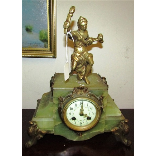 33 - Onyx Mounted Ormolu Decorated Mantle Clock with Floral Swag Decorated Dial Approximately 14 Inches H...