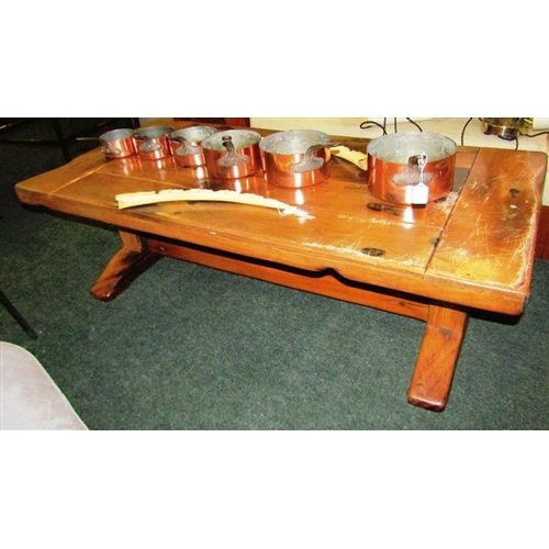38 - Carved Wood Coffee Table of Rustic Construction Approximately 44 Inches Wide...