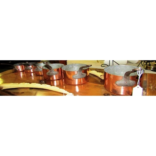 39 - Set of Six Graduated Copper Saucepans...