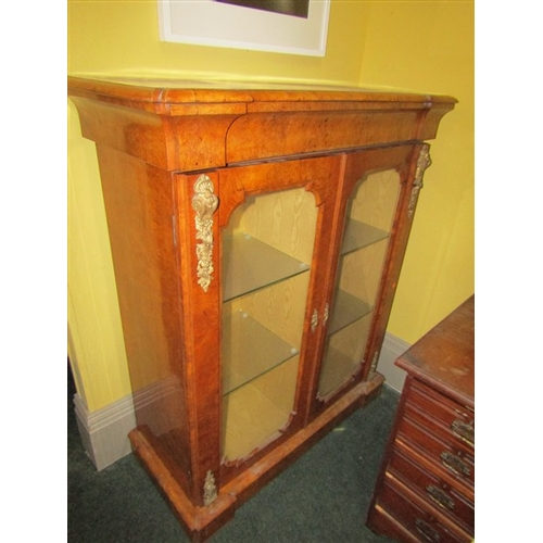 42 - Early Victorian Figured Walnut Two Door Glazed Side Cabinet with Ormolu Mounts Approximately 40 Inch...