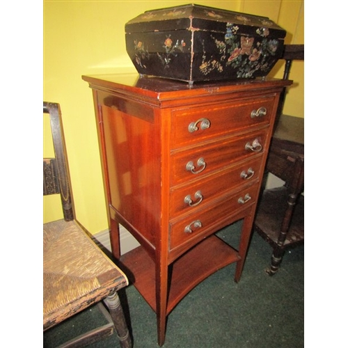 48 - Antique Mahogany Satinwood Crossbanded Four Drawer Chest with Shaped Under Tier Approximately 18 Inc...