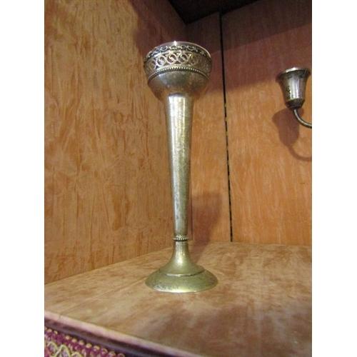11 - Solid Silver Antique Stem Vase of Slender Form on Pedestal Base Approximately 8 Inches High...