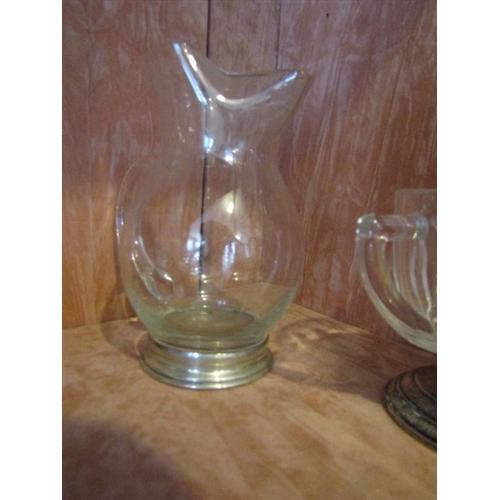 13 - Solid Silver Pedestal Mounted Crystal Lemonade Jug of Modernist Design Approximately 9 Inches High...