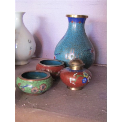 28 - Three Pieces of Miniature Chinese Cloisonneware Tallest Approximately 3 Inches High...