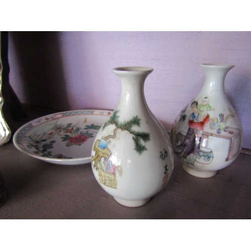 29 - Pair of Peking Chinese Vases of Neat Size and Saucer Tallest Approximately 4 Inches High...