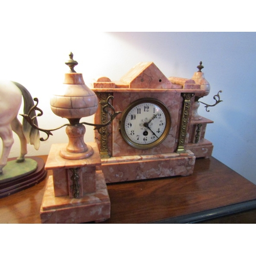 50 - Antique Marble Mantle Clock with Side Decoration of Pedestal Form Clock Approximately 11 Inches Wide...