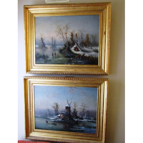 34 - Old Master School Two Winter Scenes with Skaters Signed Indistinctly Each Approximately 18 Inches Hi...