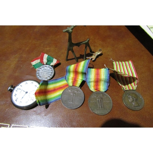 52 - Various War Medals Chronometer and Miniature Bronze Figure of Deer            Six Items in Lot...