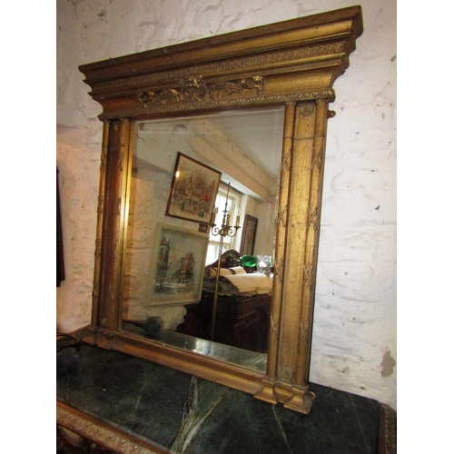 Gilt Decorated Column Form Overmantle or Wall Mirror Approximately 38 Inches Wide x 4ft High