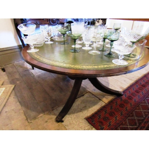 Circular Form Coffee Table with Inset Gilt Tooled Leather Surface above Reeded Tripod Base Approximately 3ft 8 Inches Diameter
