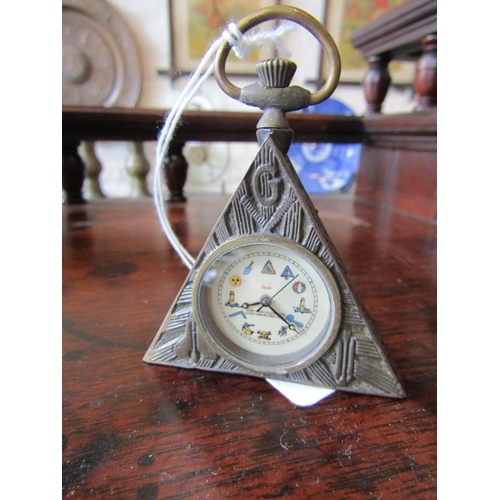 Masonic Triangular Form Pocket Watch with Hinged Cover to Reverse Various Symbols etc to Dial