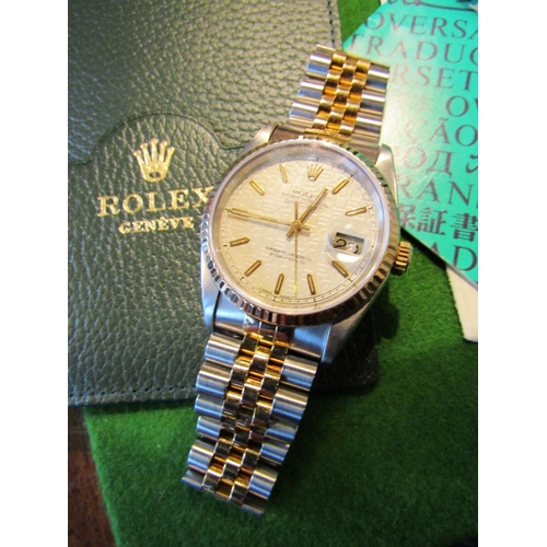 1 - Rolex Gents Wristwatch Datejust 1993 Original Box and Papers Rarely Worn 18 Carat Yellow Gold Links ...