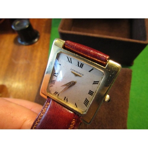 20 - Vintage Longines Gentlemans Tank Watch 18 Carat Gold Sapphire Inset Winder Manual on Tan Leather Str...