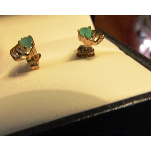 22 - Pair of Emerald and Diamond Mounted 9 Carat Gold Ladies Earrings...