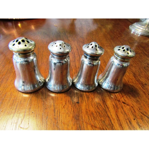 24 - Set of Four Antique Solid Silver Salts of Shaped Form...