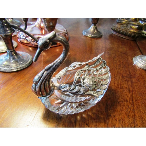 25 - Solid Silver Mounted Cut Crystal Antique Swan Motif Table Cruet Approximately 5 Inches High...