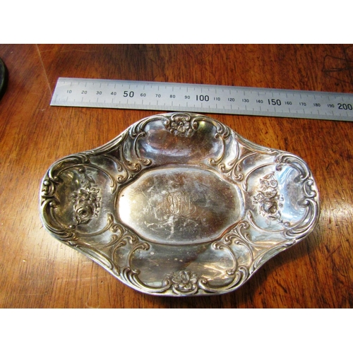 26 - Antique Solid Silver Bon Bon or Sweetmeat Dish of Shaped Form with Embossed Decoration...