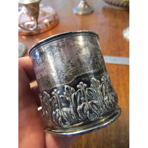 27 - Solid Silver Antique Christening Mug with Shaped Form Handle Approximately 4 Inches High...