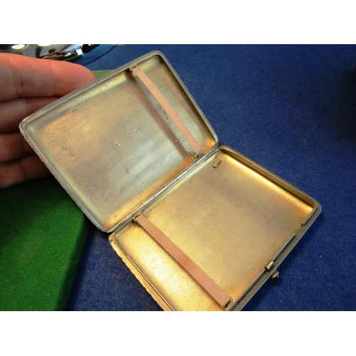 36 - Russian Solid Silver Diamond Decorated Hinged Cover Cigarette Case with Gilded Interior and Regal Em...
