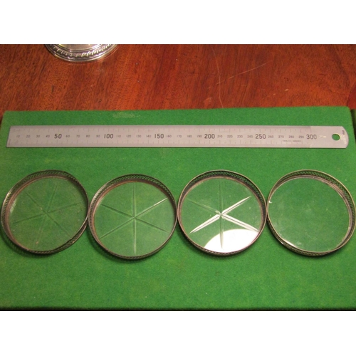 Set of Four Solid Silver Mounted Cut Crystal Table Wine Glass Coasters of Circular Form Open Fret Design