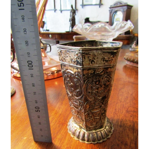 39 - Solid Silver Antique Beaker of Faceted Form with Embossed Decoration...