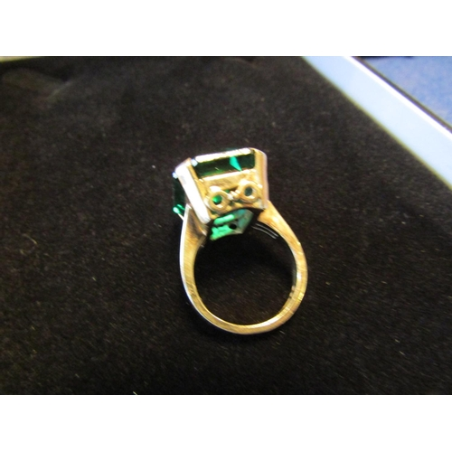 4 - 9 Carat Gold Mounted Centre Stone Ring Emerald Cut Green Garnet Centre Stone...
