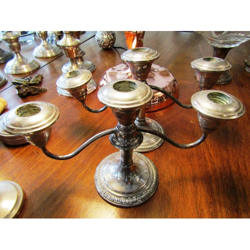 41 - Pair of Antique Solid Silver Three Sconce Table Candelabra Each Approximately 11 Inches Wide...