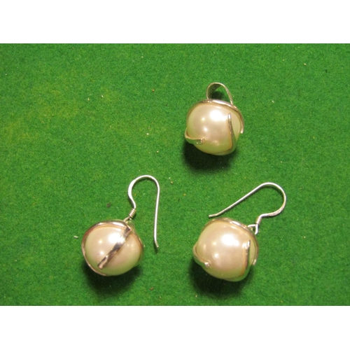Pair of Silver Mounted Ladies Pearl Earrings with Silver Mounted Pearl Necklace Pendant