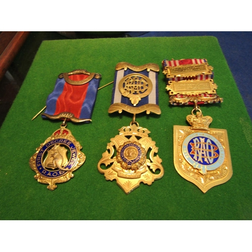 43 - Three Masonic Medals with Ribbon Attachments Good Original Condition...