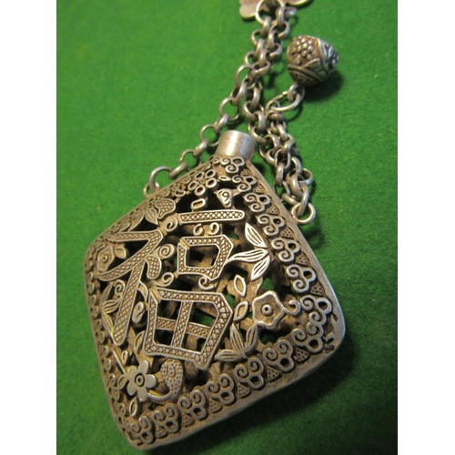 50 - Eastern Silver Sensor with Filigree Decoration Original Chain and Cover...