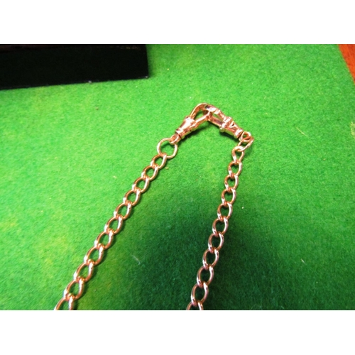 54 - Rose Gold 9 Carat Double Albert with T Bar and Two Spinners Good Weight...