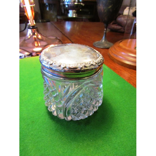 55 - Solid Silver Mounted Cut Crystal Dressing Table Powder Jar of Circular Form with Raised Decoration t...