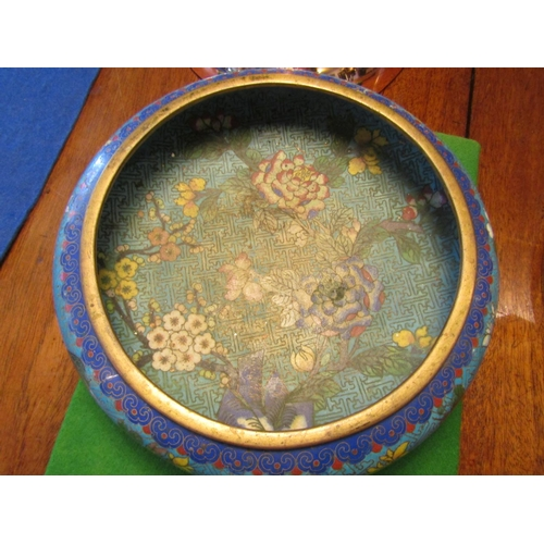 57 - Chinese Circular Form Cloisonne Decorated Dish with Various Stylistic Floral Motifs Signed to Base...